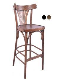 כסא בר עץ למסעדה - דגם מניפה