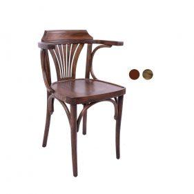כסא עץ למסעדה - דגם מניפה עם ידיות