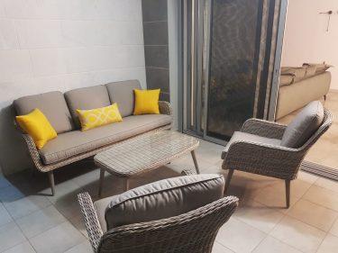 מערכת ישיבה לגינה - פרובנס בהיר תלת מושבית
