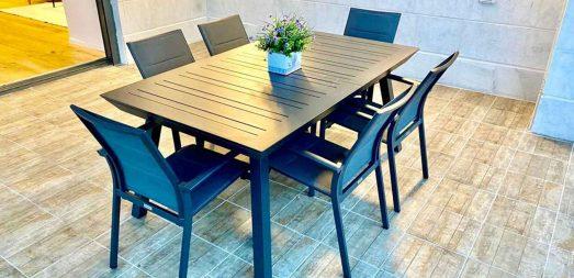 שולחן אירוח ארבל 172 אפור פחם